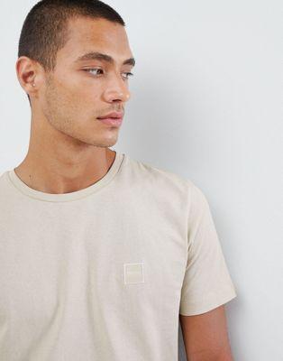 Boss - Tales - T-shirt met klein logo in lichtbeige