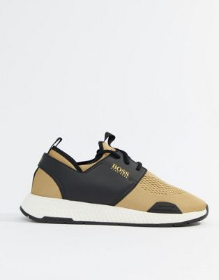 Boss Titanium runn knitted sneakers in gold