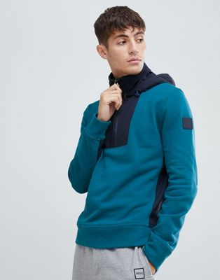 Boss Zighter Relaxed fit 1/4 zip overhead hoodie with technical panelling in teal