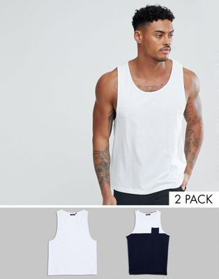 Image 1 of Brave Soul 2 Pack Plain And Block Contrast Pocket Tank