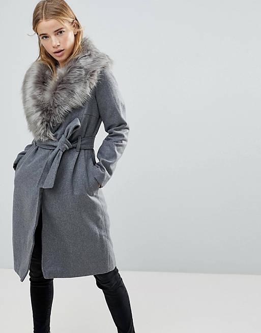 Brave Soul Ada Long Coat With Detachable Faux Fur Collar