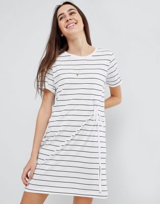 Brave Soul Ahoy Stripe T Shirt Dress with Drawstring Tie