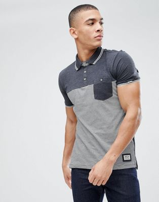 Brave Soul Fine Stripe Knitted Collar polo