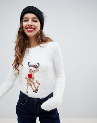 Image 1 of Brave Soul fluffy christmas sweater with sequin reindeer