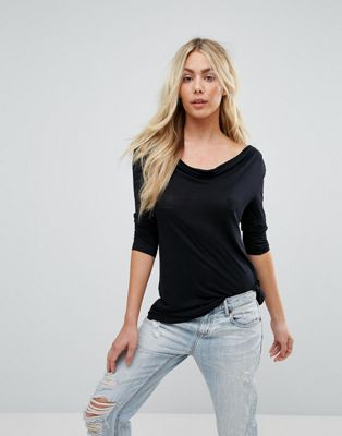 Image 1 of Brave Soul Karl Long Sleeve Drape Front Top