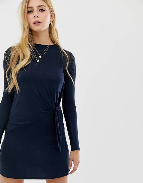 Brave Soul knot detail long sleeve mini dress in navy
