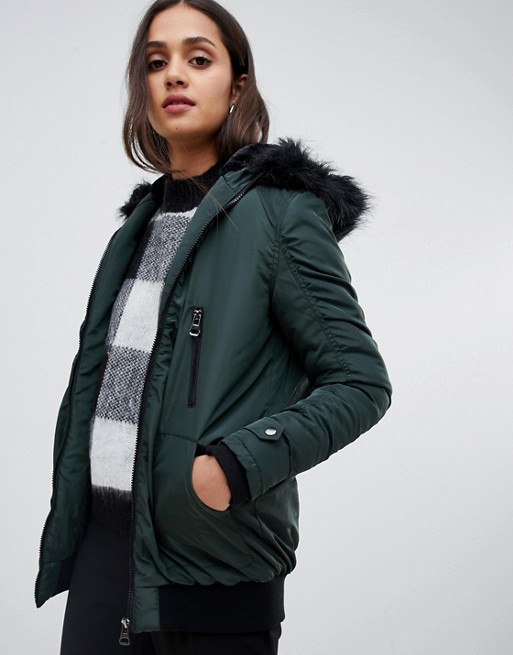 Image 1 of Brave Soul longline bomber coat with faux fur trim