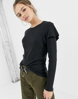 Brave Soul lydia long sleeve top with frill detail