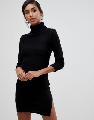 Image 1 of Brave Soul mandy roll neck sweater dress