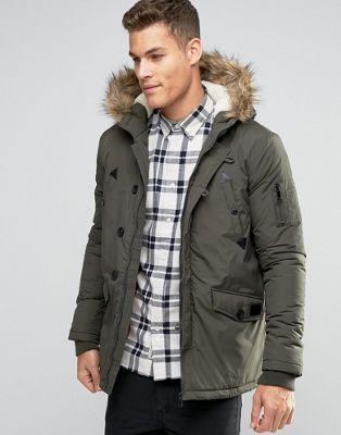 Image 1 of Brave Soul Parka Jacket with Faux Fur Trim Hood