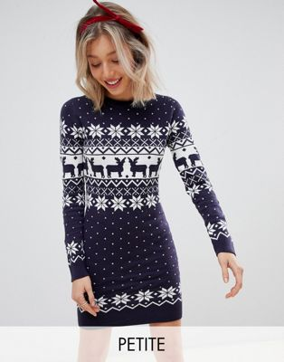 Brave Soul Petite jumper dress in reindeer fair isle