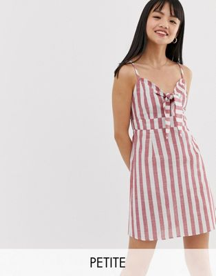 Image 1 of Brave Soul Petite tie front stripe sun dress