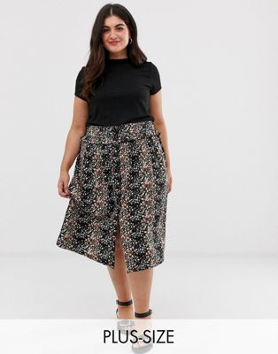 Image 1 of Brave Soul Plus avaa midi skirt