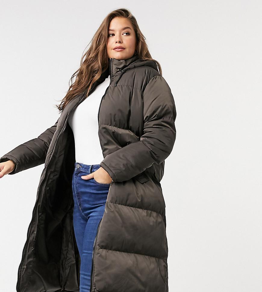 cello maxi longline puffer jacket-Brown