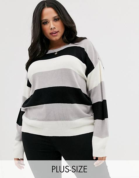 Brave Soul Plus chess sweater in stripe