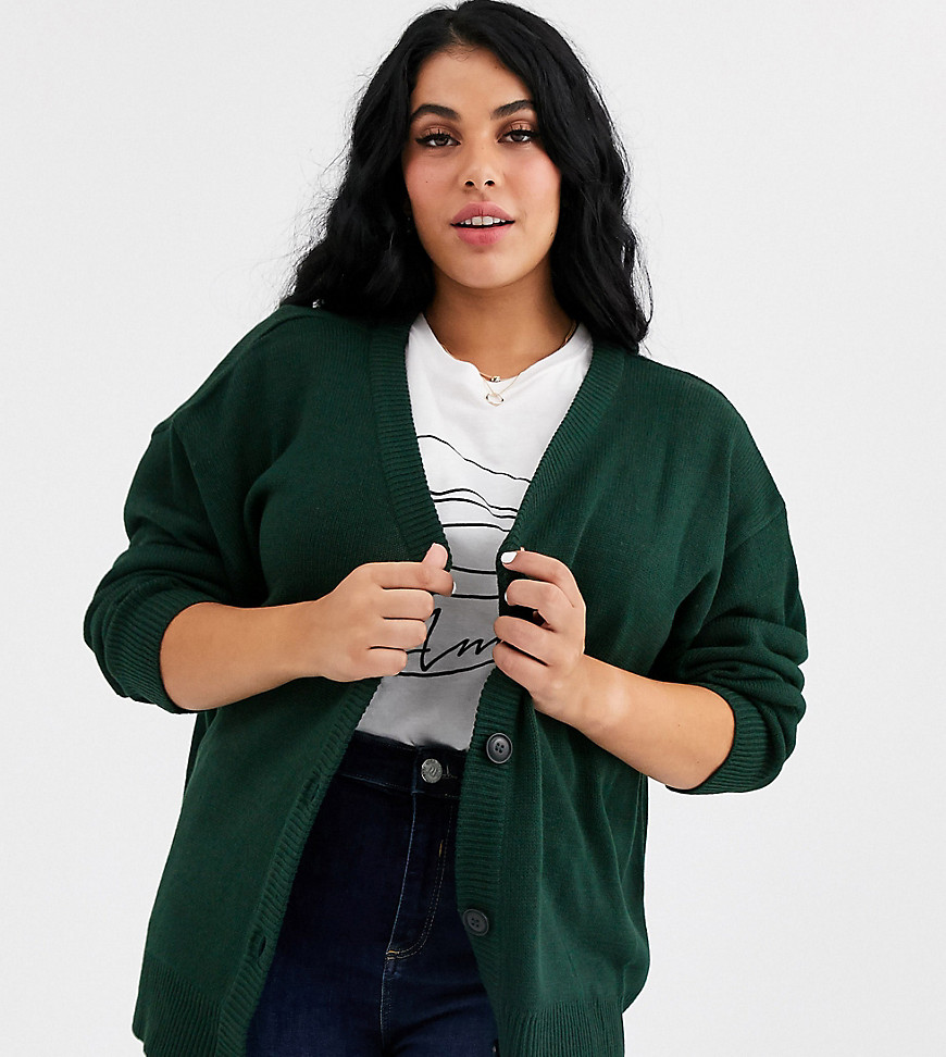Plus-size cardigan by Brave Soul For your daytime thing V-neck Button placket Dropped shoulders Ribbed trims Relaxed fit Think baggy and casual