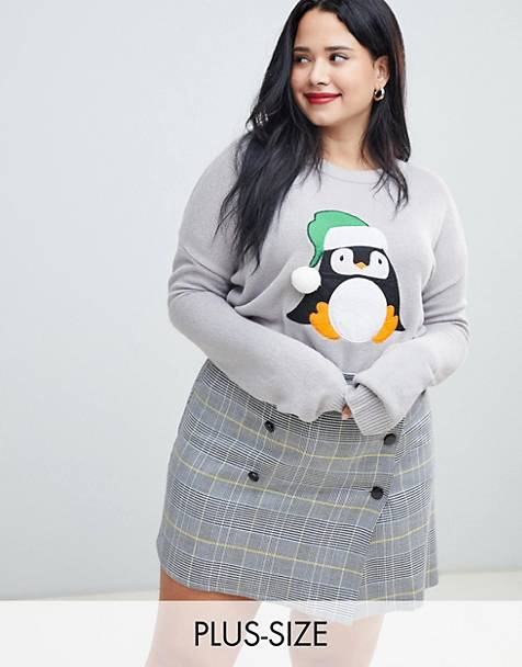 Brave Soul Plus penguin christmas sweater