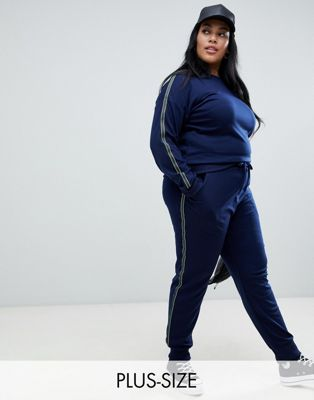 Brave Soul Plus – Presely – Jersey-Jogginghose mit Seitenstreifen