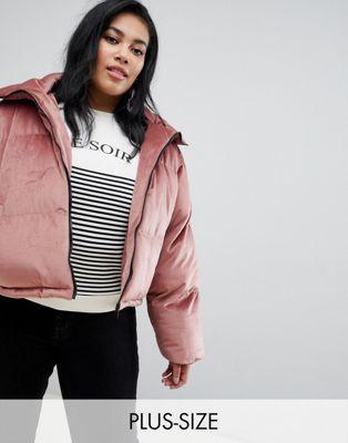 Image 1 of Brave Soul Plus ramblin padded coat in velvet
