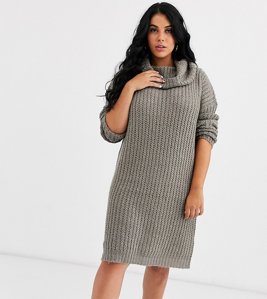 Brave Soul Plus soda cowl neck sweater dress in gray - Brave Soul Plus online sale