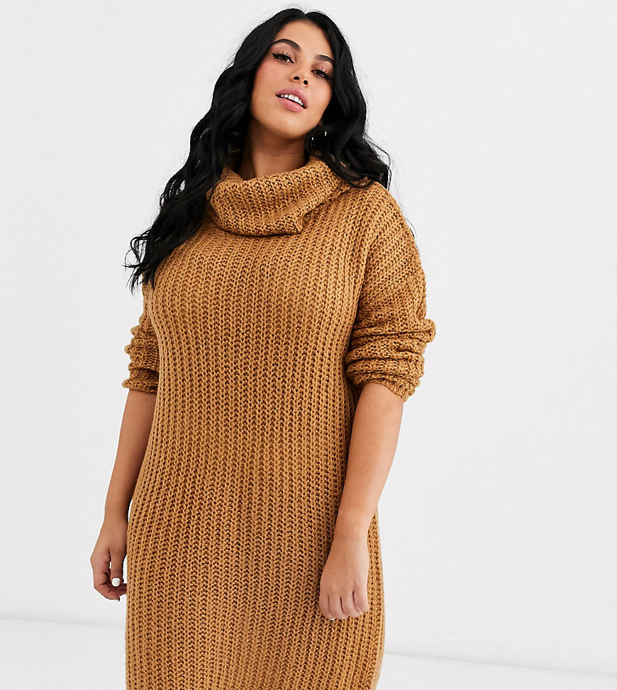 Brave Soul Plus soda cowl neck sweater dress in spiced camel-Brown - Brave Soul Plus online sale