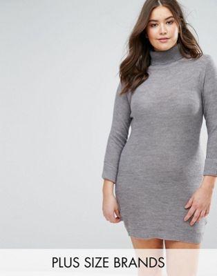 Image 1 of Brave Soul Plus Turtleneck Sweater Dress