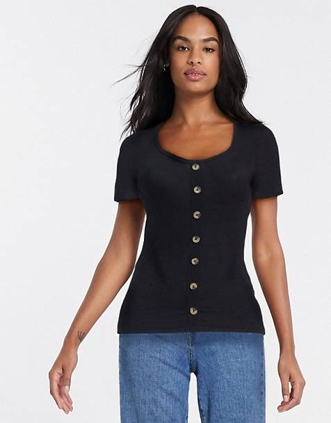 Brave Soul polly t shirt with button detail