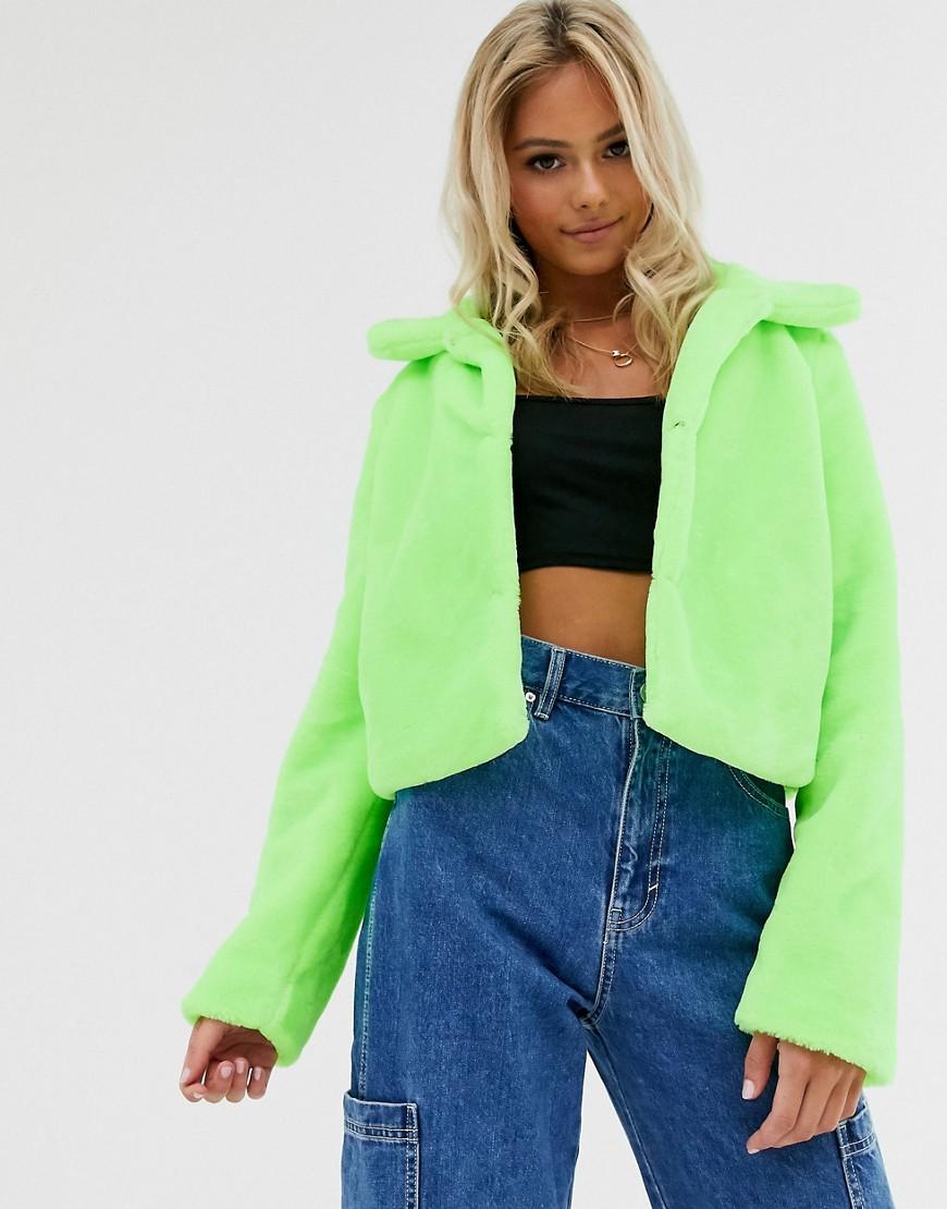brave soul -  – Rome – Kurze, Jacke aus neonfarbigem Kunstpelz-Grün