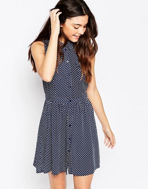 Brave Soul Sleeveless Polka Dot Shirt Dress