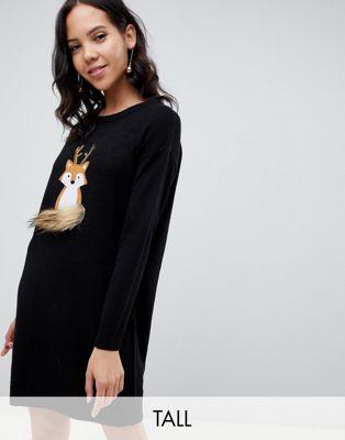 Bild 1 von Brave Soul Tall – Foxie – Weihnachtliches Pulloverkleid
