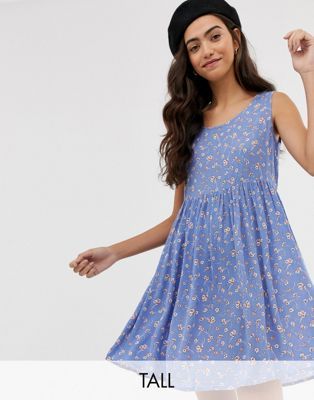 Brave Soul Tall freya smock dress in delicate floral print