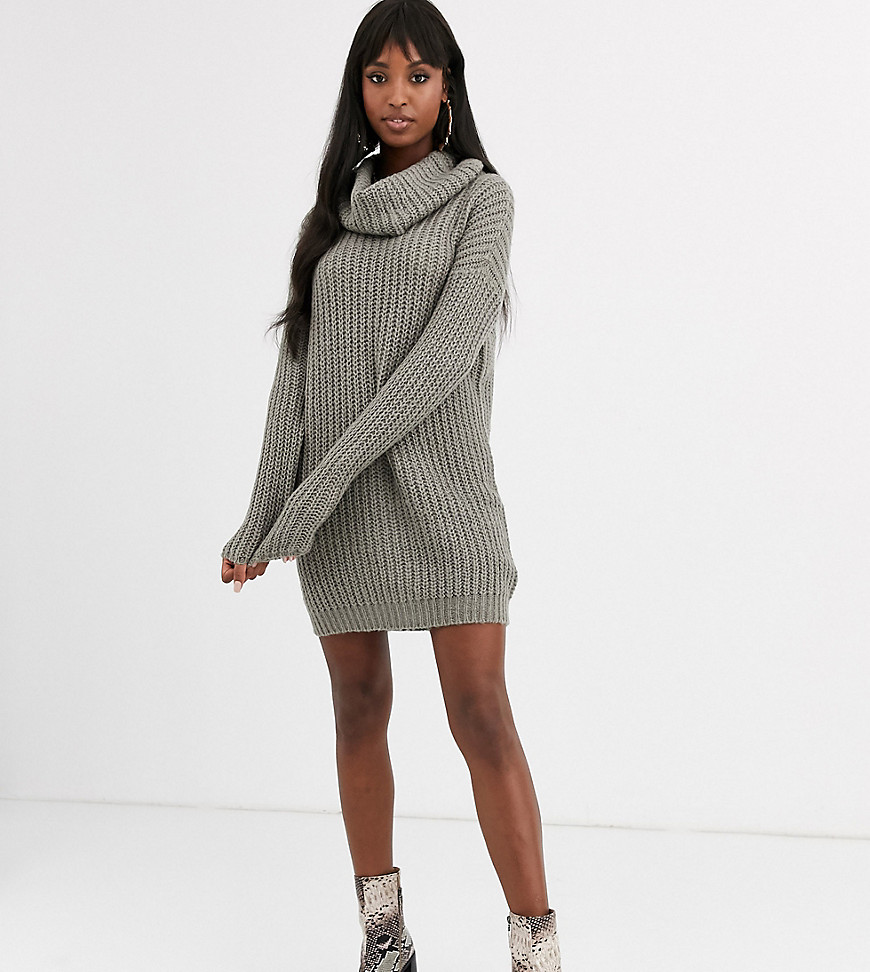 Brave Soul Tall soda cowl neck sweater dress in gray - Brave Soul Tall online sale