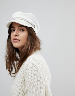 Brixton Baker Boy Hat in White Cord