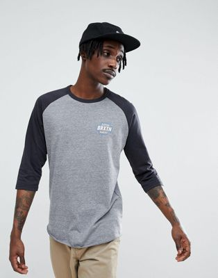 Brixton Garth 3/4 Raglan Sleeve T-Shirt With Small Logo