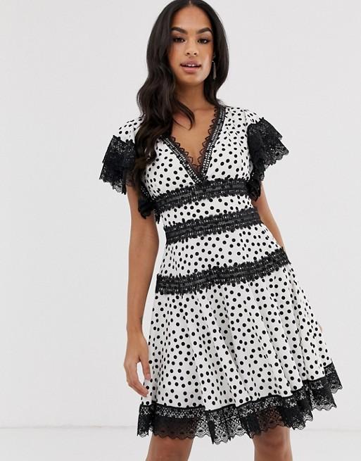 Bronx & Banco Brenda polka dot mini dress with lace trim