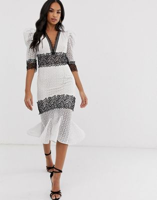 Bronx & Banco Elizabeth monochrome lace dress