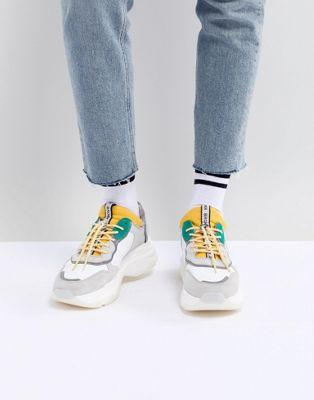 Bronx – Klobige Sneaker aus Wildleder in Gelb und Grün