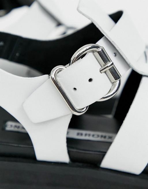 a58782d98dd Shoptagr | Bronx White Leather Chunky Gladiator Sandal by Bronx
