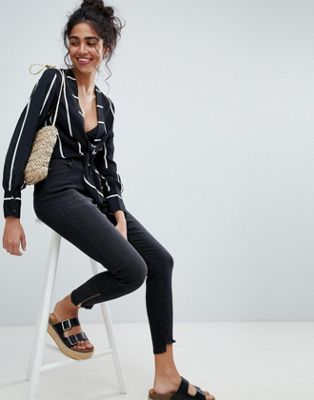 Bild 1 von Brooklyn Supply Co. – Enge Jeans mit Reißverschluss am Stufensaum