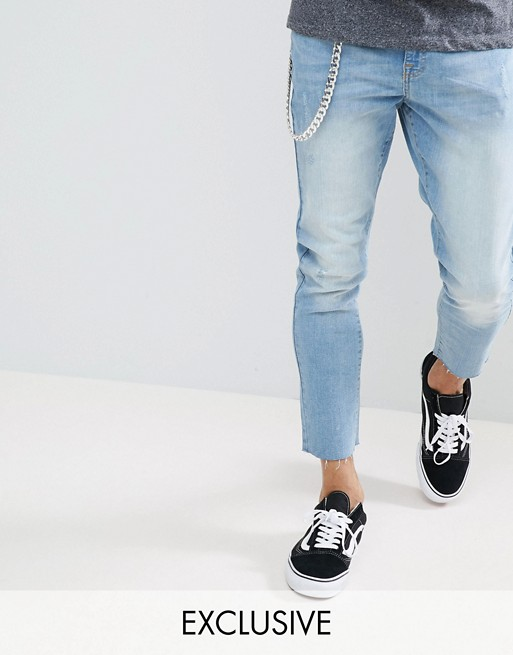 Image 1 of Brooklyn Supply Co Lightwash Slim Cropped Jeans With Chain