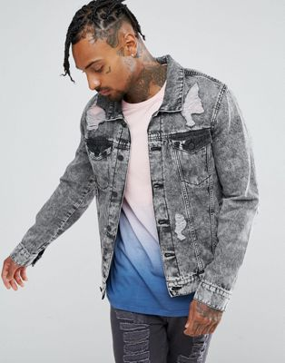 Brooklyn Supply Co Ripped Denim Jacket Acid Wash