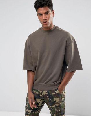 Brooklyns Own Sweatshirt In Brown With Raw Hem Sleeves