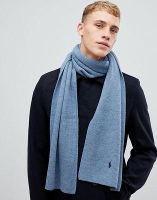 Bufanda de canalé de lana en azul marga con logo de jugador de Polo Ralph Lauren