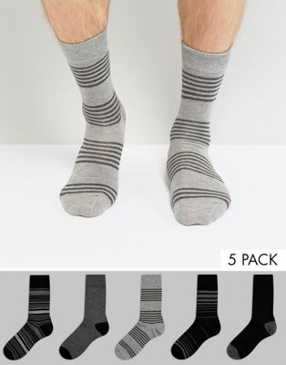 Burton Menswear 5 Pack Socks in Grey Stripe