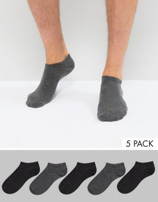 Burton Menswear 5 Pack Trainer Socks In Grey