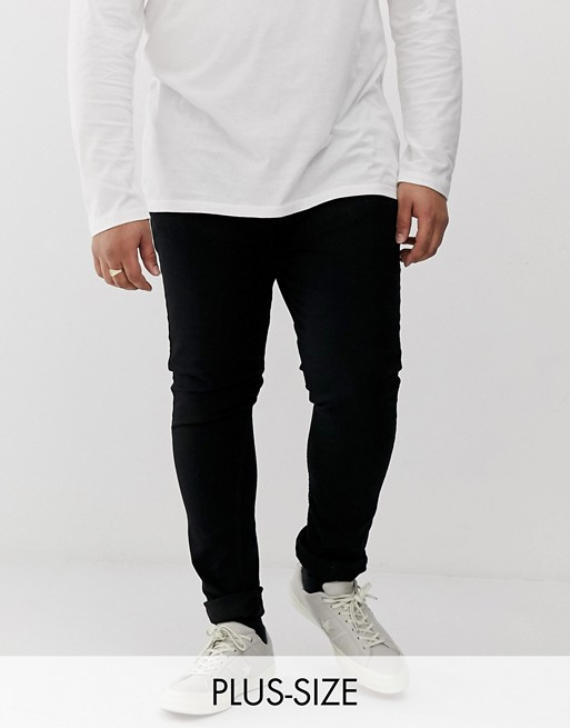 Burton Menswear - Big & Tall - Czarne bardzo obcisłe jeansy