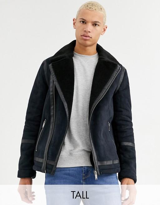 Burton Menswear – Big & Tall –  Schwarze Jacke in Lammfelloptik