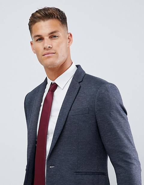 Burton Menswear blazer in pique in navy