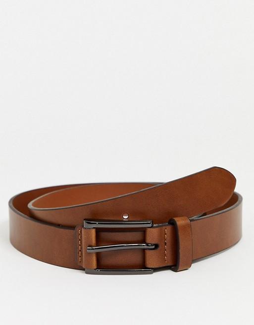 Burton Menswear – Brauner Gürtel mit Zierlaschen