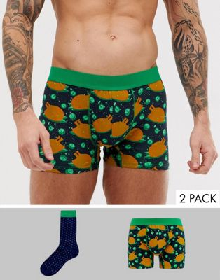 Burton Menswear Christmas turkey dinner underwear and socks set